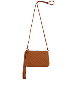 Faux Leather Chevron Quilted Crossbody Bag - 1124070578504