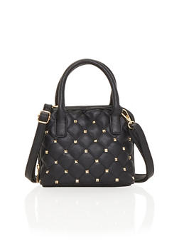 Quilted Satchel with Stud Accents - 1124070578506