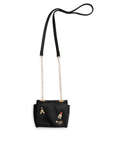 Faux Leather Cross Body Bag with Graphic Pins - 1124070578507