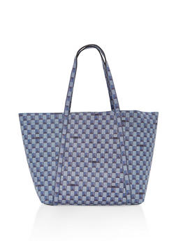 Printed Faux Leather Tote Bag - 1124071271710