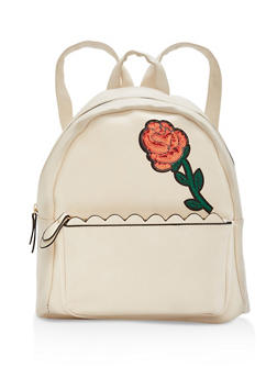 Sequin Rose Patch Faux Leather Backpack - 1124073330502