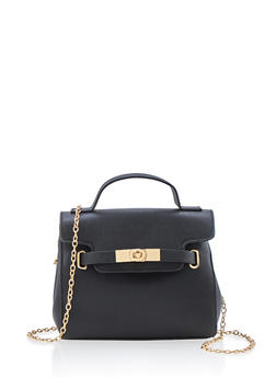 Belted Satchel with Chain Link Shoulder Strap - 1124073400199