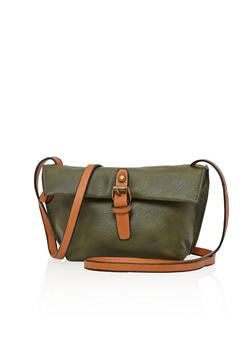 Mini Faux Leather Crossbody Bag with Double Zippers and Buckle Flap - 1124073400820