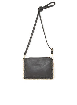 Faux Leather Crossbody Bag with Woven Metal Trim - 1124073400918