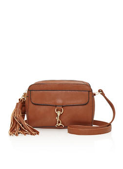 Crossbody Bag with Buckle Accent and Tassel - 1124073401000