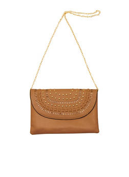 Studded Lasercut Faux Leather Crossbody Bag - 1124073401002