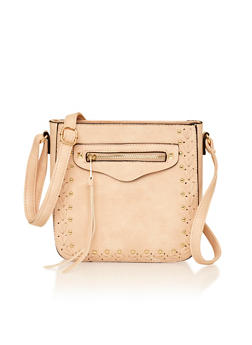 Woven Studded Faux Leather Crossbody Bag - 1124073401007