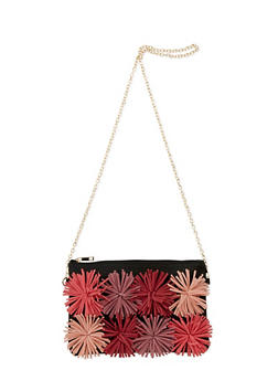 Multi Color Pom Pom Crossbody Bag with Chain Link Strap - 1124073401026