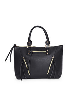Faux Leather Multi Zipper Handbag - 1124073401039