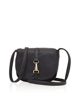 Faux Leather Flap Crossbody Bag with Lock - 1124073401051