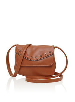 Mini Crossbody Bag with Zipper and Stud Trim - 1124073401053