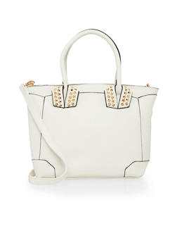 Faux Leather Studded Tote Bag with Detachable Shoulder Strap - 1124073401056