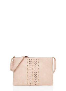 Crossbody Bag with Studs and Braiding Details - 1124073401100