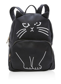 Faux Leather Kitten Embroidered Backpack - 1124073401402