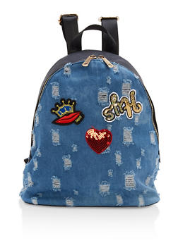 Distressed Denim Graphic Patch Backpack - 1124073401667