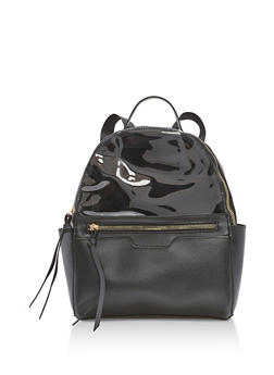Half Clear Faux Leather Backpack with Tassels - 1124073401670