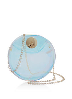 Clear Iridescent Round Crossbody Bag - 1124073401743
