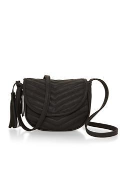 Mini Saddle Crossbody Bag with Chevron Stitching - 1124073402044