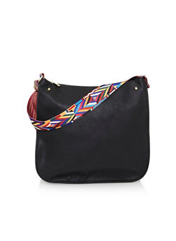 Faux Leather Crossbody Bag with Multi Color Strap - 1124073404065