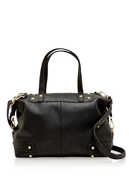 Studded Faux Leather Satchel Bag - 1124073404105