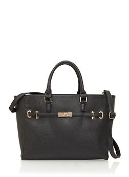 Textured Faux Leather Tote Bag with Crossbody Strap - 1124073405014