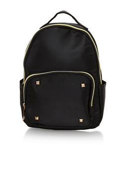 Faux Leather Mini Back Pack with Studded Accents - BLACK - 1124073405094