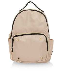 Faux Leather Mini Back Pack with Studded Accents - BEIGE - 1124073405094