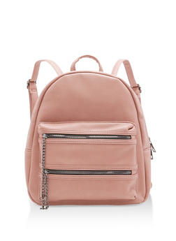 Faux Leather Double Zip Chain Backpack - 1124073406064