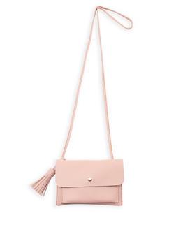 Small Faux Leather Tassel Crossbody Bag - 1124073407142