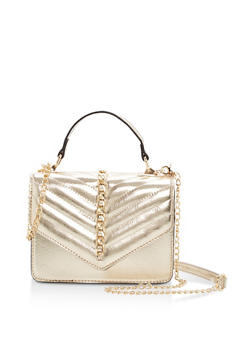 Chevron Stitch Chain Crossbody Bag - 1124073407149