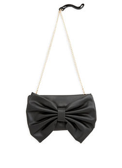 Faux Leather Bow Clutch - 1124073407164