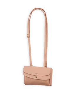 Double Flap Studded Faux Leather Crossbody Bag - 1124073407210