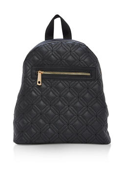 Quilted Faux Leather Backpack - BLACK - 1124073407225