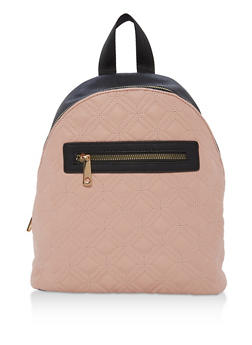 Quilted Faux Leather Backpack - BLUSH - 1124073407225