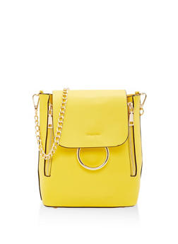 Convertible Faux Leather Backpack - MUSTARD - 1124073407294