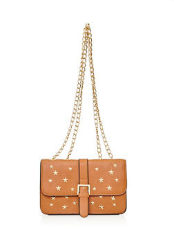 Double Strap Star Studded Crossbody Bag - 1124073409166