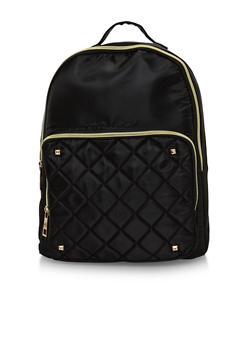 Satin Quilted Back Pack with Metal Stud Accents - BLACK - 1124073409861
