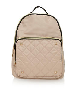 Satin Quilted Back Pack with Metal Stud Accents - 1124073409861