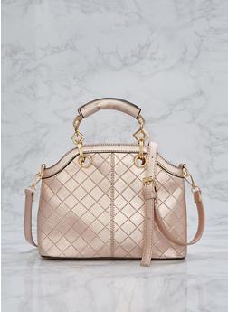 Faux Saffiano Leather Satchel - 1124073892038