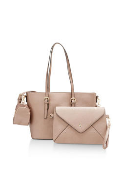 Faux Leather Tote with Removable Clutch and Pouch - 1124073892072