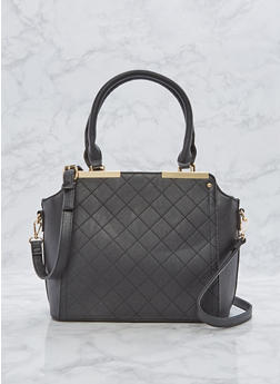 Faux Leather Metallic Bar Handbag - 1124073892109