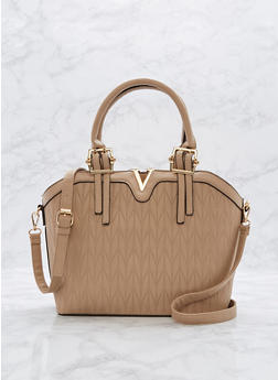 Faux Leather Embossed Metallic Detail Bag - 1124073892111