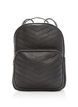 Chevron Embossed Faux Leather Backpack - 1124073892164