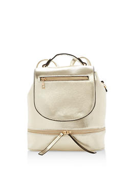 Faux Leather Zipper Accented Backpack - 1124073892175