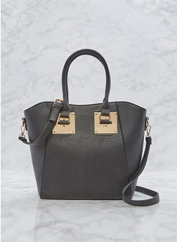 Faux Leather Metallic Plate Satchel - 1124073892199