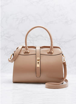 Faux Leather Satchel Bag with Removable Strap - 1124073895016