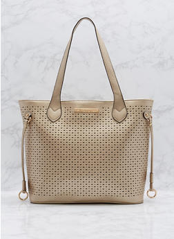 Perforated Faux Leather Tote Bag - 1124073895098