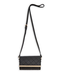 Stitched Faux Leather Crossbody Bag - 1124073895106