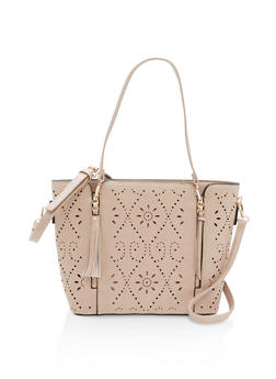 Multi Zip Faux Leather Laser Cut Tote - 1124073895602