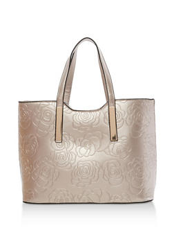 Flower Embossed Tote Bag - 1124073895617